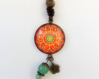 Love Necklace LYS MANDALA Jewelry Red Green Mandala Necklace Healing Necklace Healing Jewelry Boho Necklace Boho Jewelry Mandala Art Print
