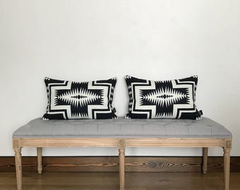 Black and White Pendleton Wool 14x22 Pillow Cover, Pendleton wool pillow, throw pillow