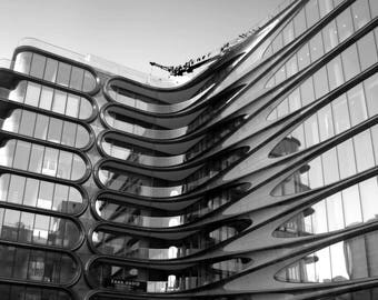 New York City architecture photography, black and white, Chelsea, High Line