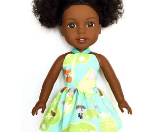 Halter Dress, Garden, Fox, Blue, Green, White, Pink, 14.5, Fits dolls such as AG, Wellie Wishers, 14 inch Doll Clothes