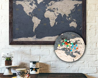 Push pin map etsy push pin map personalized travel map executive style 13x19 pin board sciox Image collections