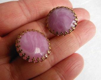 Vintage Marbled Purple Stud Earrings, Clip On, Faux Amethyst