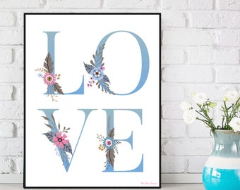 Love letters poster, Love poster, Love quote, Nursery decor, Poster quote, Wall decor, Typography quote, Positive quote wall, Gift for her