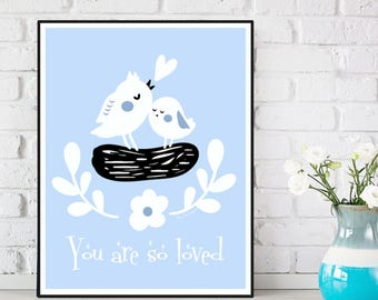 Baby poster, Birds poster, Nursery decor, Children poster, Nursery poster, Nursery quote art, Child room decor, Children gift, Baby gift