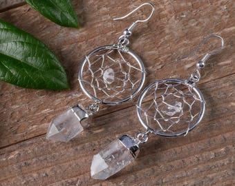CLEAR QUARTZ Dream Catcher Earrings - QUARTZ Crystal Point Earrings, Clear Quartz Earrings, Quartz Crystal Earrings, Silver Plated E0543