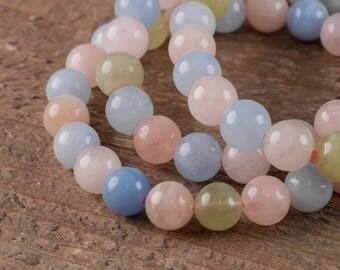 MORGANITE and AQUAMARINE Power Bracelet - Morganite, Aquamarine, Morganite Bracelet, Aquamarine Bracelet, Beryl Stone, Healing Crystal E0573