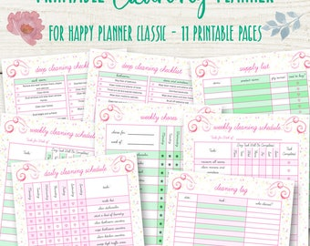Cleaning Schedule for Happy Planner, Cleaning Planner Printable, Home Organizer, Happy Planner Household Printables Chart, Instant Download