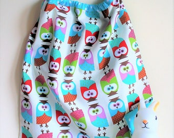 Towel elasticated canteen and House owls and polka dots