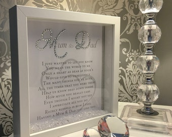 Beautiful Mum & Dad 3D crystal box frame