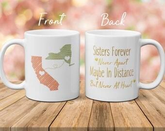 Moving Mug For Sister, Moving Away Mug, Long Distance Sister Mug, State To State Mug, Connecting States Mug, Christmas Gift For Sister