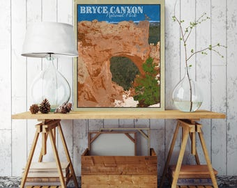 Bryce Canyon National Park, National Park Poster, Bryce Canyon Canvas Print, National Park Canvas, Canvas Wall Decor, Travel Illustration