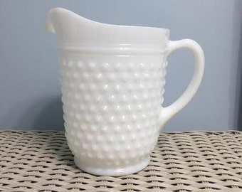 Vintage Large Milk Glass Hobnail Pitcher