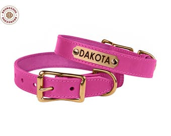 Girl Dog Collar Personalized Leather Pink Collars for Dogs with Engraved ID Tag Nameplate