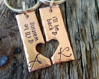 Personalized hand stamped couples keychain SET. Anniversary gift. Gift under 20. Valentines girlfriend wife gift. Boyfriend husband gift.