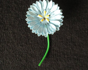 Enamel Blue Flower Brooch, Vintage