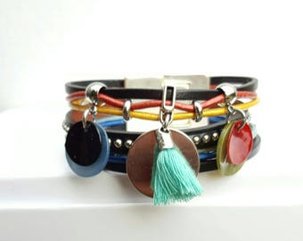 "Multicolor leather Cuff Bracelet ""Sol Calero 2"""