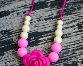 Baby Silicone Teething Necklace, Pink, Light Pink and Cream, Toddler Sensory Necklace, Flower Beads, Chew Beads, BPA free, Baby Shower Gift