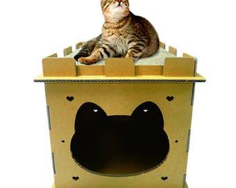 Mini Castle Cat House, Cat Furniture, Cat House, Cat Condo, Cat Cave, Cat Perch, Cat Scratcher, Cat Box, Cat Gift, Cardboard Cat House, Cats
