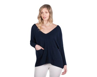 Navy 100% Pure Cashmere Women V neck Jumper Sweater with Pockets