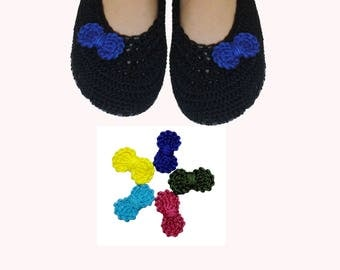 Slippers with 5  bows Pin, 5 multicolor bows, gift for girls, crochet slippers