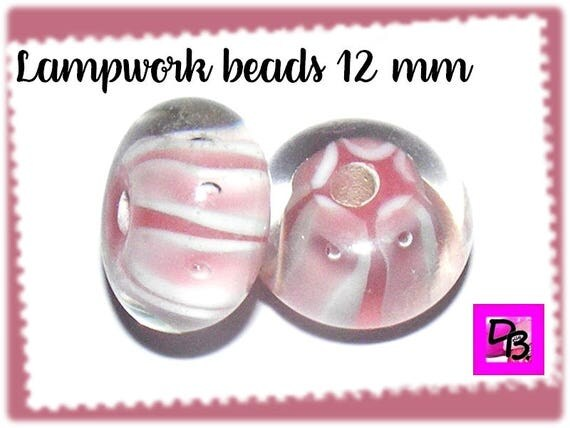 Perle lampwork [white/pink] 12 mm