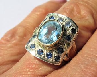 Blue Topaz, Blue Topaz Ring, Silver Ring, Silver Blue Topaz Ring, Sapphire, Sapphire Ring, Silver Sapphire Ring, Ladies Rings, Jewelry
