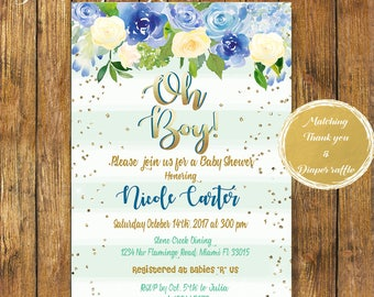 Digital File or Printed|Oh Boy Baby Shower Invitation|Gold Foil and Blue|Boy Baby Shower Invitations|Stripes|Floral Watercolor|Free Shipping