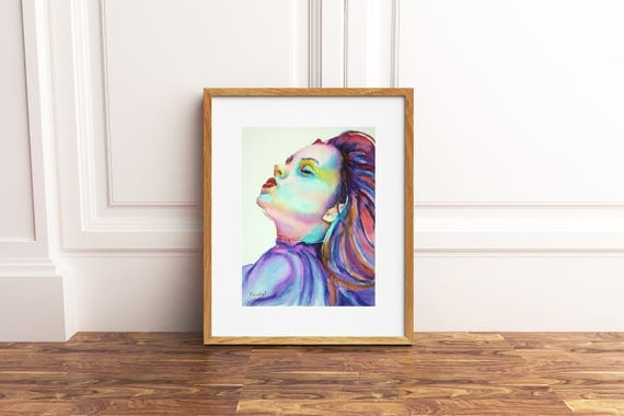 Woman portrait with closed eyes, original painting by Francesca Licchelli, wedding list, anniversary gift idea, modern decore, wall art.