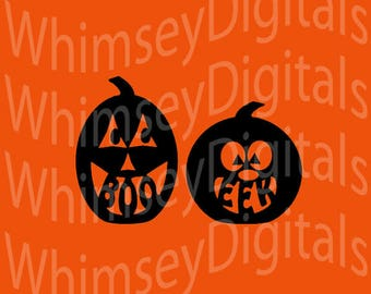 Jackolantern Digital Download Boo and Eek Pumpkins SVG Cut File, Vinyl Cutting Design, Tshirt, Bib, SVG, Studio3, MTC