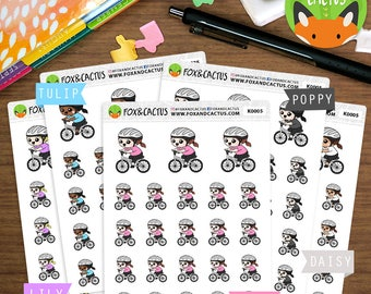 Bike Riding Kawaii Girls - Bicycle Fitness Workout Exercise - Planner Stickers (K0005)