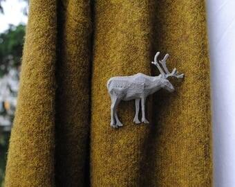 Reindeer Reflective 3D printed Polygonal Brooche