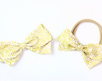 Blush and Gold Hair Bow - Rifle Paper Bows - Blush Champagne Hair Bow