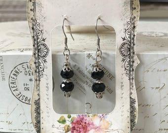 Black faceted crystal bead earrings