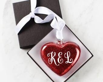 Valentine's Day Glitter Glass Heart