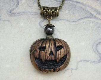 Pumpkin Pendant - Polymer Clay Necklace - Halloween Jack O Lantern, Gothic Goth, Bronze Tone, Autumn Fall Vegetable, Hematite