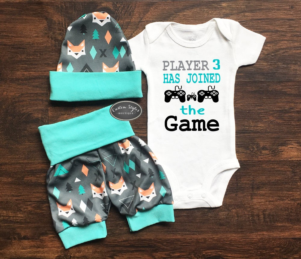 Baby Boy Coming Home Outfit Teal And Gray Fox Print Shorts Hat