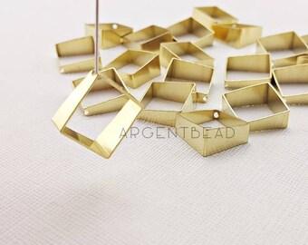 best seller 10pcs 15mmRaw Brass 3D Rhombus Charm ,cut raw brass tube outline charm in rhombus 3d square geometric shape AGBRA619/AG265