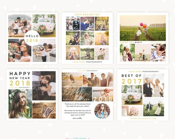 Social Media Templates for photographers, New Year Template, Instagram Template, Photography marketing, New Year Collage Templates, Facebook