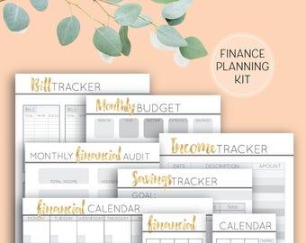 Printable Budget & Finances, Digital Download planner pages finance bundle A4, A5, DL sizes