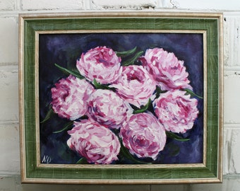 Flower Oil Painting Peonies Framed Painting Art Flower Still Life Peonies Framed Art Floral Art Oil Painting Original Art Canvas Art