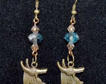 Anubis Earrings - Egyptian - History - Geeky Jewelry - Antique Bronze - Stargate - Geeky Earrings - Blue - Glass - Crystal - Gift for Her