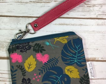 Mini Wristlet, Grey Floral Canvas, Pink Faux Leather, Small Zipper Pouch, ID Wallet, Card Wallet, Floral Pouch