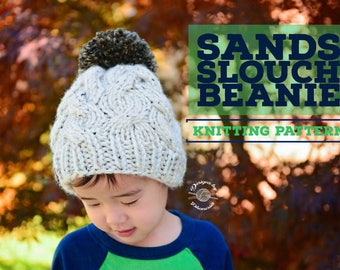 Knit Sands Slouch Beanie PATTERN | Knit Pattern | Knit Cables | Cabled Beanie | Slouch Hat | Knit Beanie | Knit Hat | Instant Download