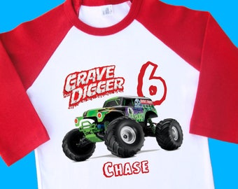 Grave Digger Monster Truck Birthday Shirt. Personalized Raglan with Name & Age. 1st 2nd 3rd 4th 5th 6th 7th 8th 9th Birthday T Shirt (35238)