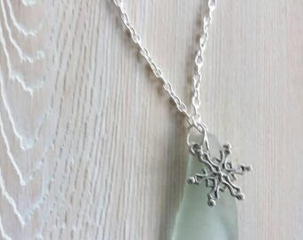 Snowflake Seaglass Necklace Snowflake Sea Glass Necklace Sea Glass Jewelry Gift for her  Snowflake Necklace Sea Glass