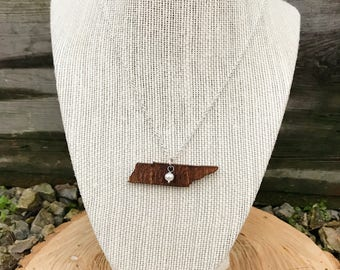 Tennessee, Tennessee State Necklace, Wooden State Necklace, Tennessee Jewelry,  Personalized Gift, Going Away Gift