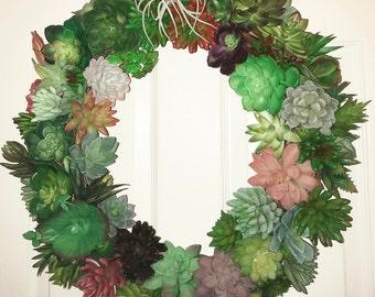 Succulent Wreath, Faux Succulent Wreath, Indoor Outdoor Wreath, Artificial Succulent Wreath, Year-Round Wreath, Housewarming Gift