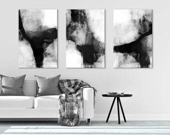 Large Abstract Painting, Set of 3 Prints, Black & White Wall Art, Oversized Wall Art, Minimalist Art, Multi Panel Art, Large Canvas Art