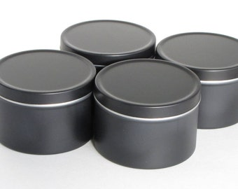 6 oz. BLACK Round Aluminum Tins & Lids (Set of 4) Empty, Seamless Metal Containers for Candles, Gifts, Organization, Tea, Herbs