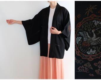 Vintage Kimono with a White Crane Motif